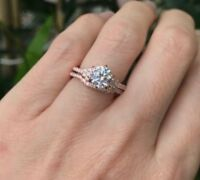 14k Rose Gold Over 1.25Ct Diamond Solitaire Engagement Bridal Ring Set