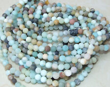 Amazonite Round Matte Beads - 8mm Amazonite Bead Strands - Frosty Matte Finish