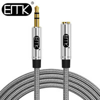 EMK 2Pcs 3.5mm AUX Extended Cable Stereo Audio Cable Male to Female MP3 Car 3ft