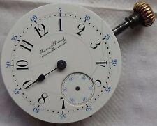 Haas & Privat Chaux de Fonds pocket watch movement & enamel dial 45 mm stem to 3