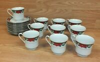 Tienshan China Christmas Deck The Halls Poinsettia Cups & Saucers Setting for 10