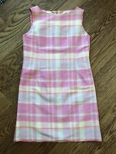 Talbots Kids  Size 8 Pink Plaid Silk Sleeveless Lined Sheath  Dress