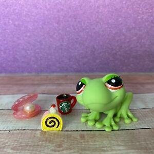 100% AUTHENTIC Littlest Pet Shop LPS #898 Green Frog w Accessories