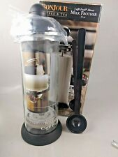 BonJour Coffee Glass and Stainless Steel Manual Milk Frother 16 Ounce