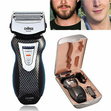 Mens Rechargeable Cordless Electric Shaver Razor Trimmer Facial Double Edge Foil