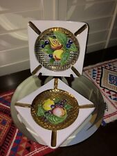 Pair of Vintage Square Fruit Ashtray Designed by KB Made in Italy w/ Rare Insert
