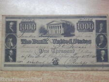 Vecchia copia BUONO THE BANK OF THE UNITED STATES 1000 dollars Bond 1840 8894 di