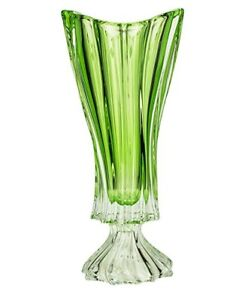 "Crystal Glass Footed Vase 16"" Centerpiece Green Flower Bohemian Crystal Bud Vase"