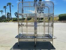 """BIRD BREEDER TWIN CAGE Stainless Steel Indoor Outdoor Parrot Macaw 63"""" x58"""" x32"""""""