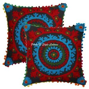 Indian Suzani Cushion Covers 40x40 cm Black Cotton Embroidered Floral Set Of 2