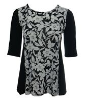 Womens New Black White Print Black Side Panel Swing Top Plus Size 16 To 26 BNWT