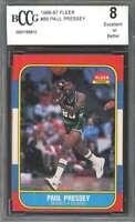 1986-87 fleer #88 PAUL PRESSEY milwaukee bucks rookie card BGS BCCG 8