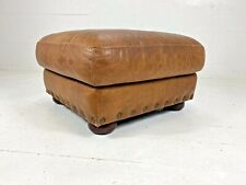 Chesterfield Style Aged Cigar Tanned Brown Leather Footstool