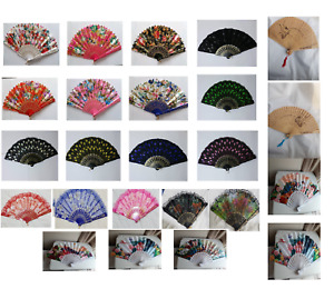 New Womens Ladies Fabric Lace Dancing Silk Folding Club Party Hand Held Fan