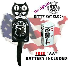 Kitty-Cat Klock Black Kit Kat Clock Vintage Eyes & Tail w/ Battery