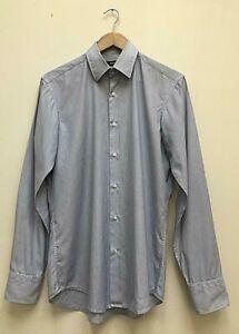 Mens Hugo Boss Blue Fine Stripe Easy Iron Regular-Fit ✅ Long Sleeve Shirt Medium