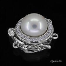 HIGH END! Fine Sterling Silver Genuine Pearl CZ 2 Strand Pearl Box Clasp #99156