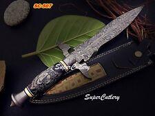 Super Cutlery Custom Damascus Art Dagger Knife Bull Horn Handle Scrimshaw Wolf