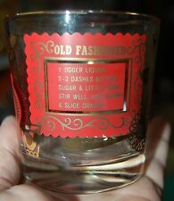 8 GOLD Trim OLd Fashioned Glasses Mid Century Red Mad Men Drink Recipes Bar