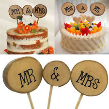 Wedding Cake Topper Personalised Mr & Mrs Table Decoration Favour Rustic Wood 3p
