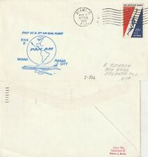 US 1960 PAN AM FAM 5 FIRST FLIGHT FLOWN AIR MAIL LETTER MIAMI TO PANAMA CITY