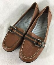 a8257844c1616e Tommy Hilfiger Women s Brown Leather Slip On Loafers w  Strap Accent Size  8.5M