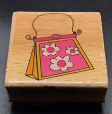 "Sarah Beise pretty pink purse handbag wood mounted rubber stamp NEW 2""X2"""