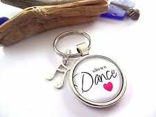 """"""" When in doubt DANCE """" Dancing themed 25mm Glass Dome novelty keyring gift UK"""