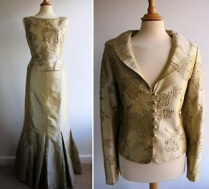 PRESEN Gold Silk Beaded Skirt Top Jacket Suit Outfit Mother of the Bride Size 12