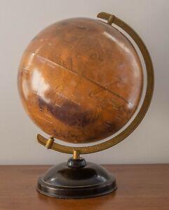 """12"""" Mars Globe on Streamlined Art Deco Base Replogle Denoyer Cram"""