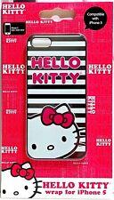 HELLO KITTY Apple iPhone 5 WRAP HARD CASE Black White Stripes KT4489BWP NEW HTF