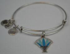 Alex and Ani Blue Lotus EWB Bangle Bracelet - Rafaelian Silver