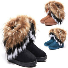 Women's Suede Fluffy Fur Round Toe Winter Snow Boots Flat Ankle Boot Shoes Size