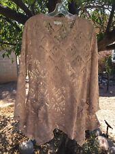 INDIGO SOUL L Open Weave NUDE ECRU Lace Pocket Lagenlook Boho Beach Gypsy Hippy