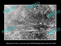 OLD POSTCARD SIZE MILITARY PHOTO HAZEBROUCK FRANCE AERIAL VIEW BOMBING c1940 1