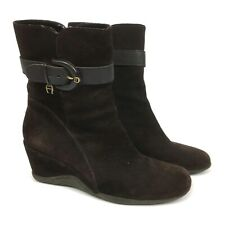 Etienne Aigner Eve Brown Suede Leather Wedge Ankle Boots Womens Size 8.5