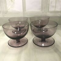 Retro Vintage four Glass Dessert Cup Bowl  Purple Coloured 1960's