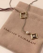 DAVID YURMAN 925 STERLING SILVER 18K GOLD QUATREFOIL PEARL LARIAT DROP NECKLACE