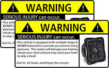 Kicker S7 Subwoofer BASS Stereo Warning Sticker Decal