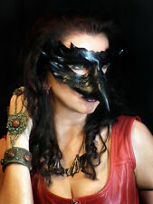 Raven Wide beak Handmade Real Leather Mask Venetian Masquerade