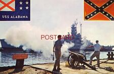 CONFEDERATE CANNON BOOMS 21-GUN SALUTE AS THE USS ALABAMA docks at Mobile Bay