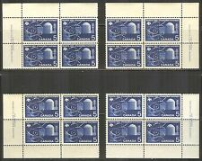 Canada #449, 1966 5c Atomic Research - Peaceful Uses, 4-Corner PB4 Set Unused NH