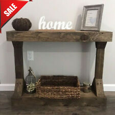 Rustic Farmhouse Console Table Solid Wood Shelf Sofa Accent Entryway Hall Brown