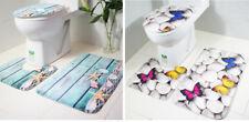 3PCS Butterfly Starfish Non Slip Bathroom Shower Mat Toilet Floor Rug Carpet Pad