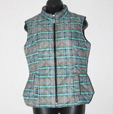 Arista women's gray turquoise quilted full zip vest, lined, size medium, EUC