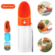 2 in 1 Portable Dog Water Bottle+Food Dispenser Container Pet Travel Feeder Bowl