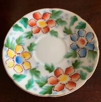 Vintage Trinket Dish Occupied Japan Hand Painted Lovely Vibrant Flowers! Rare