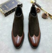 Mens Carved Dress Ankle Chelsea Boot Leather Slip On Pointy Toe Business Shoes @