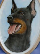 "Doberman Pinscher Painting Ooak Signed 12"" Dog Portrait"
