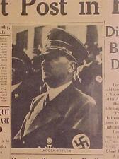 VINTAGE NEWSPAPER HEADLINE~WORLD WAR GERMANY NAZI BERLIN ADOLF HITLER DEAD WWII~